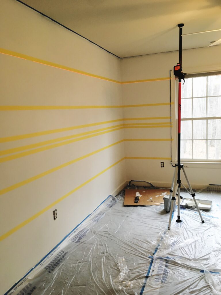 painting horizontal stripes placing your tape