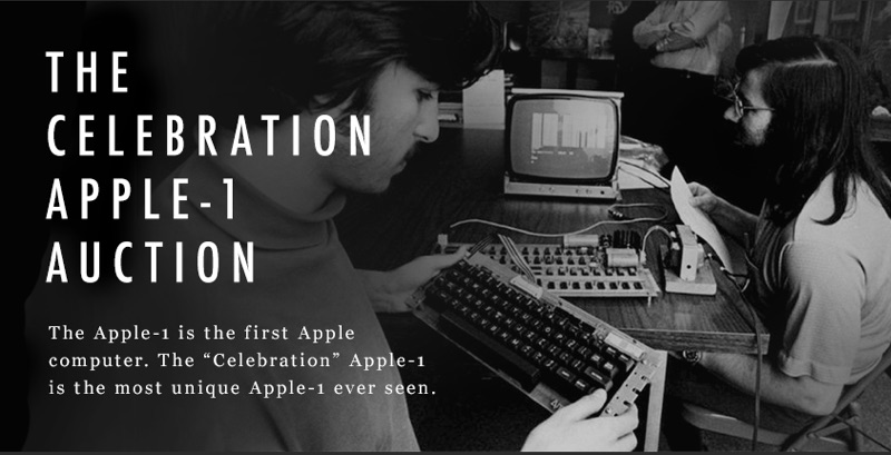"""Auction Makes History as the """"Celebration"""" Apple-1 Becomes one of the Most Valuable Computers and Pieces of Vintage Electronics Ever Sold"""