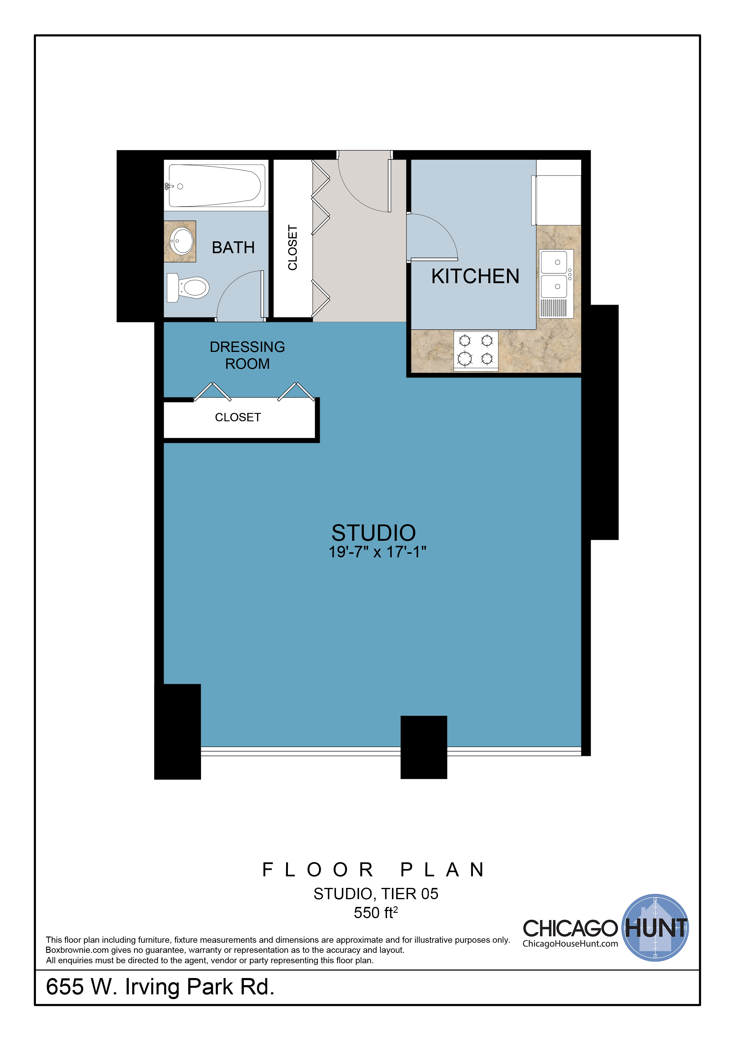 655 Irving Park, Park Place Towere - Floor Plan - Tier 05