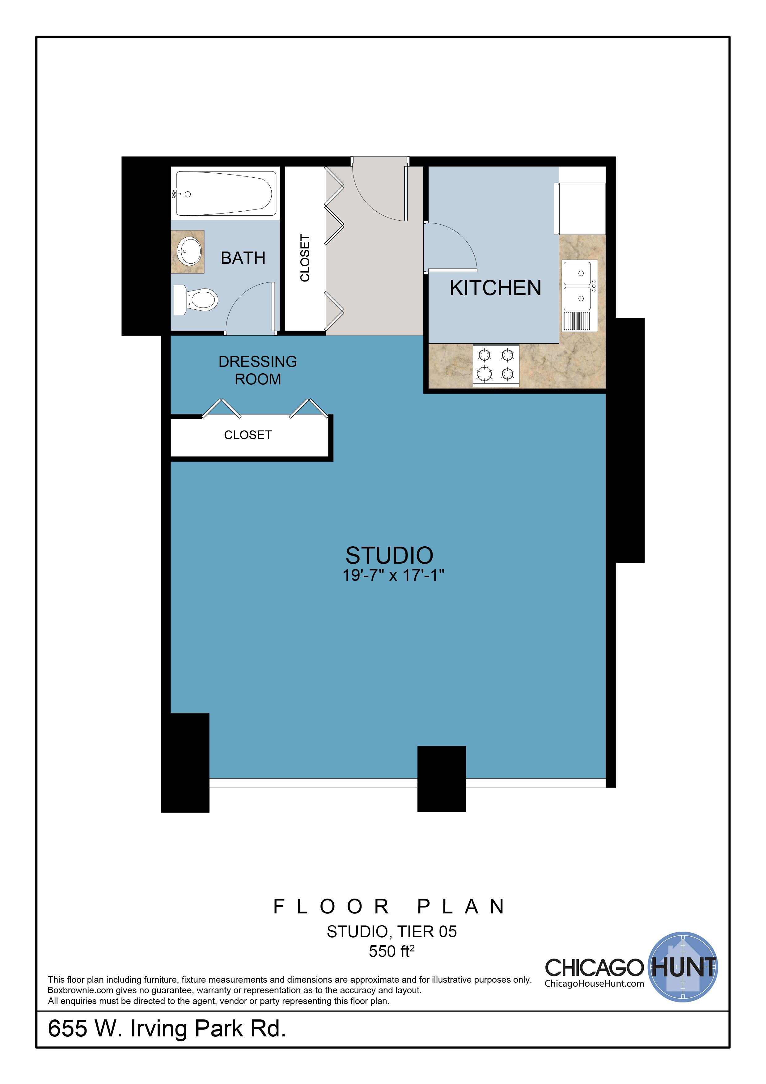 655 Irving Park, Park Place Towere - Floor Plan - Tier 05