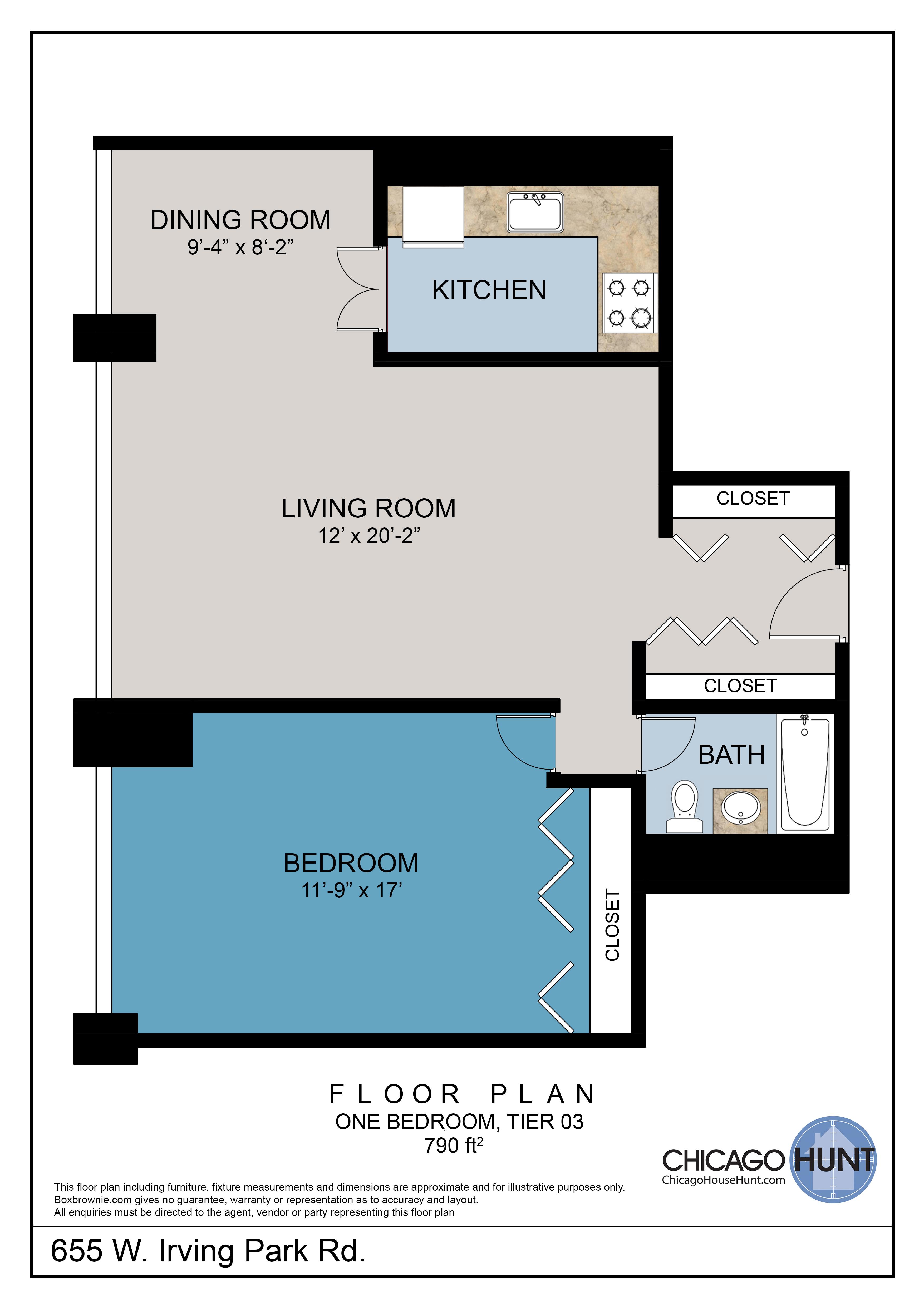 655 Irving Park, Park Place Towere - Floor Plan - Tier 03