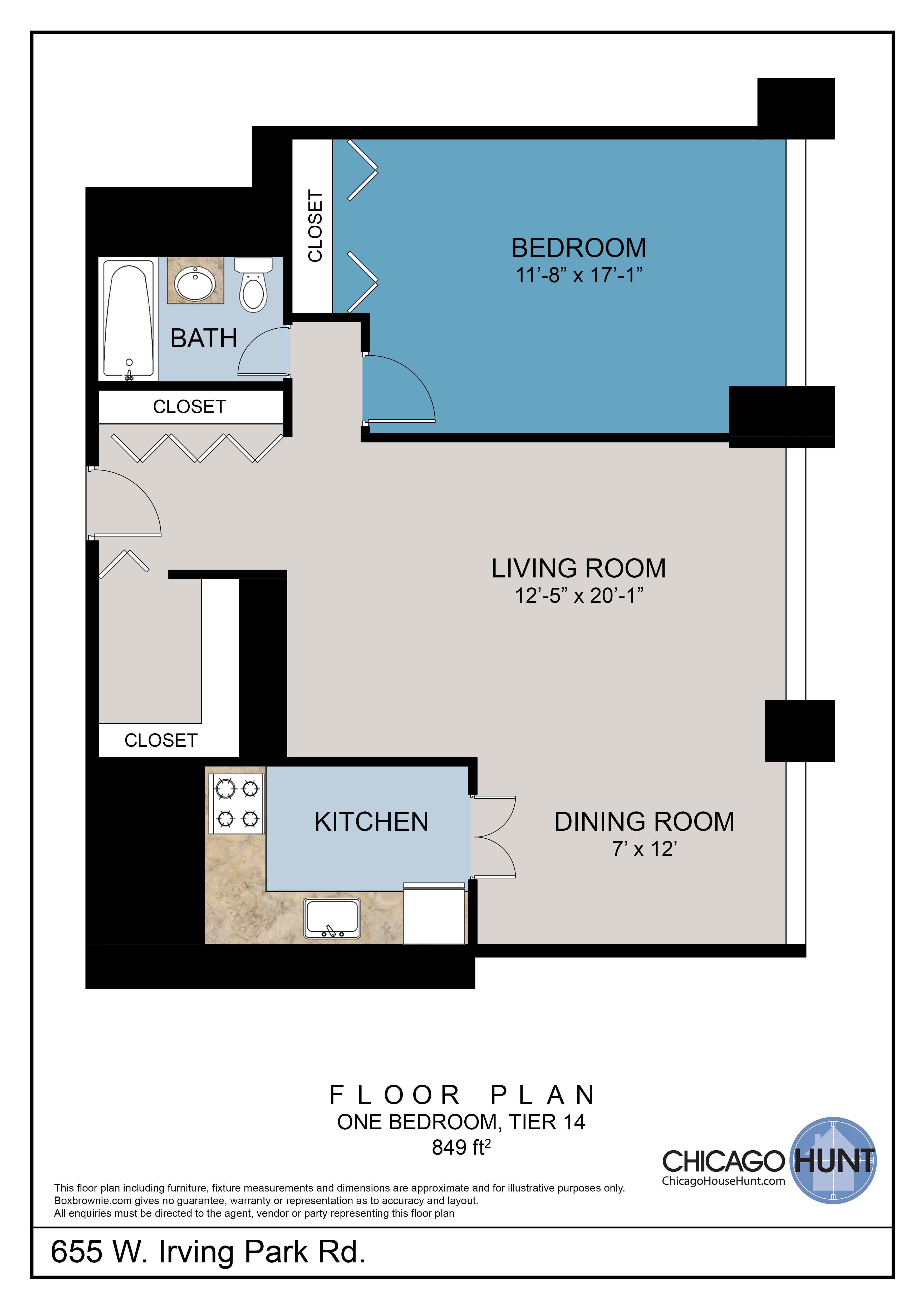 655 Irving Park, Park Place Towere - Floor Plan - Tier 14