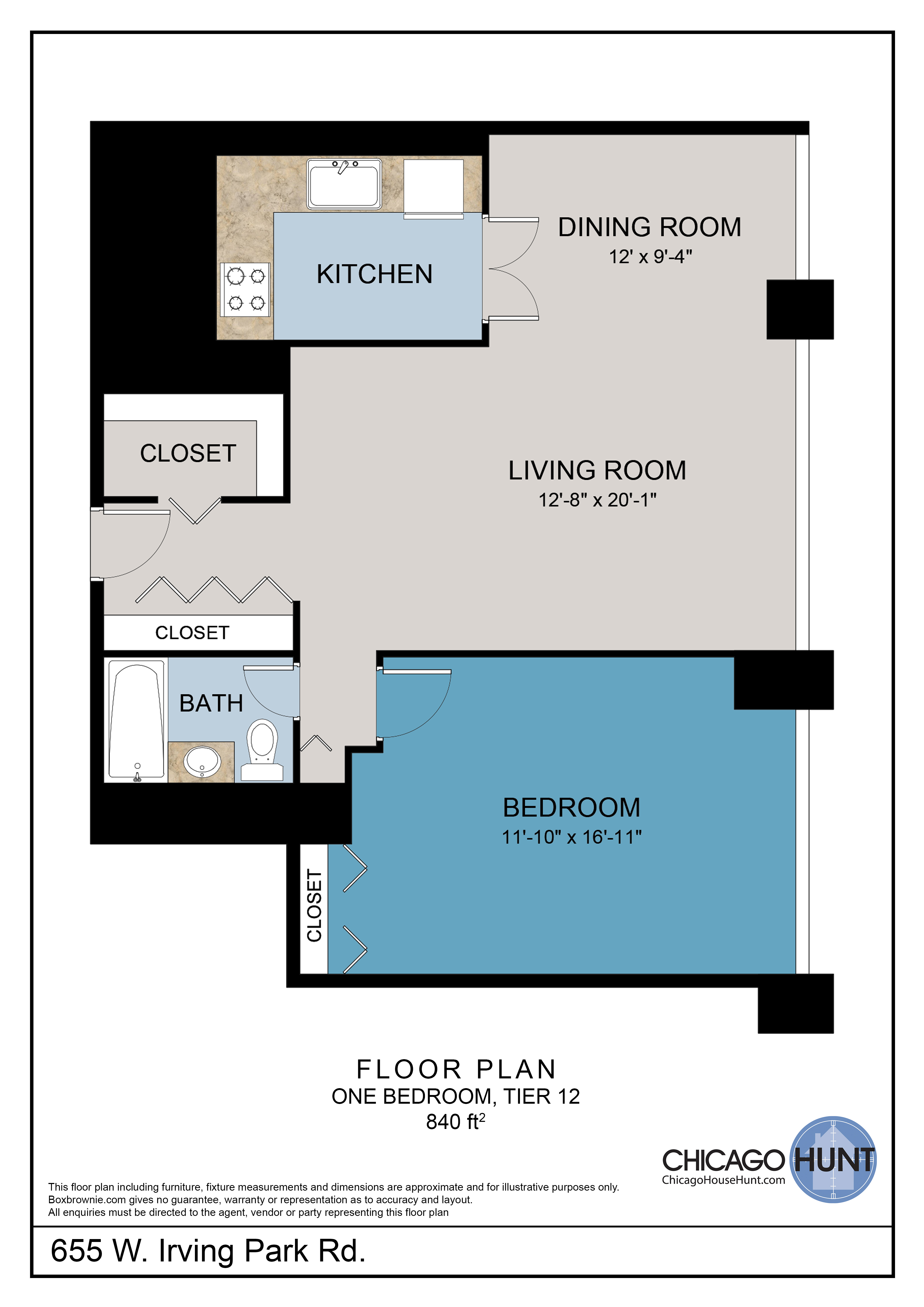 655 Irving Park, Park Place Towere - Floor Plan - Tier 12