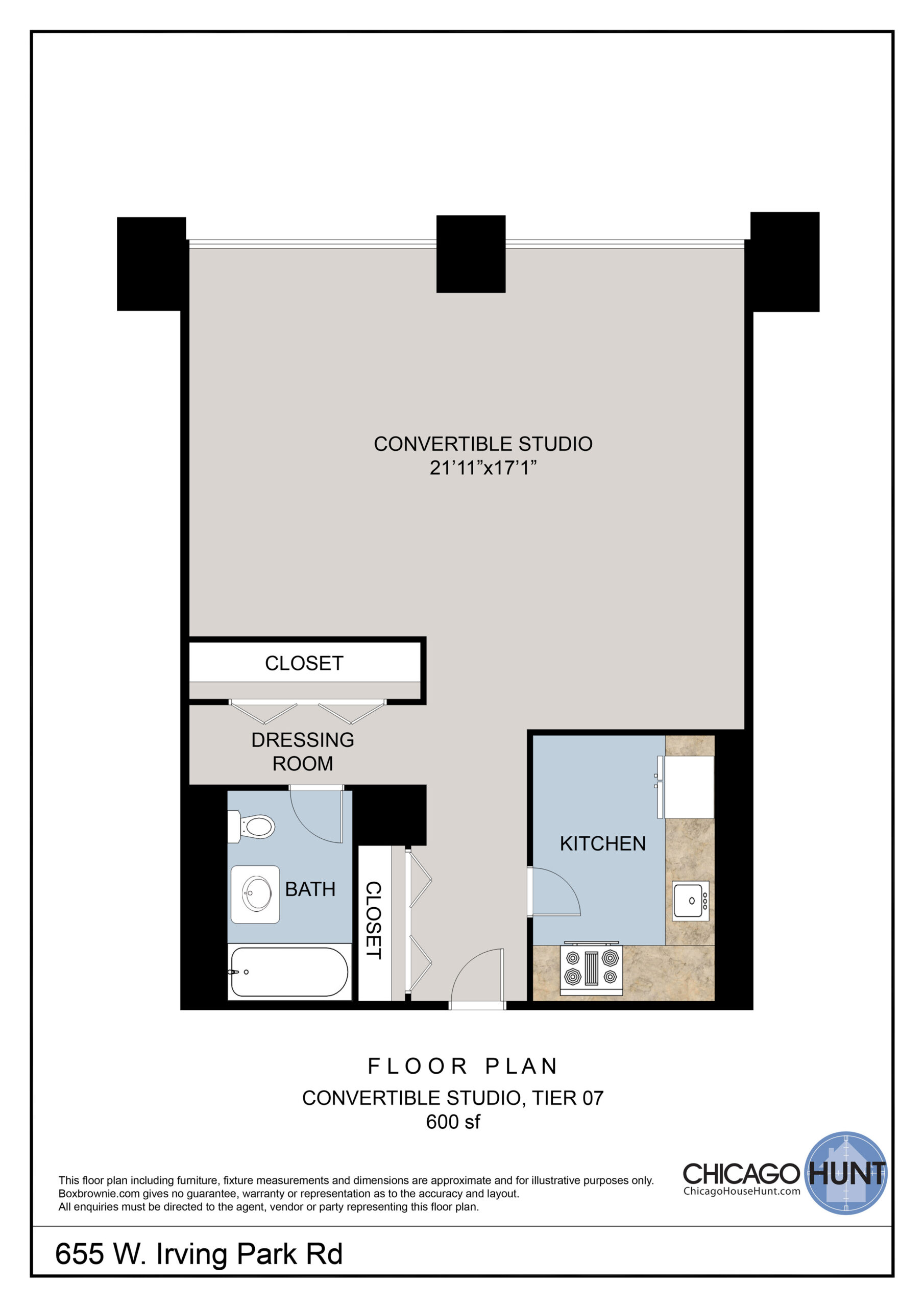 655 Irving Park, Park Place Tower - Floor Plan - Tier 07