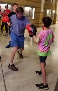 Demonstrating Rock Steady Boxing After the Closing Program