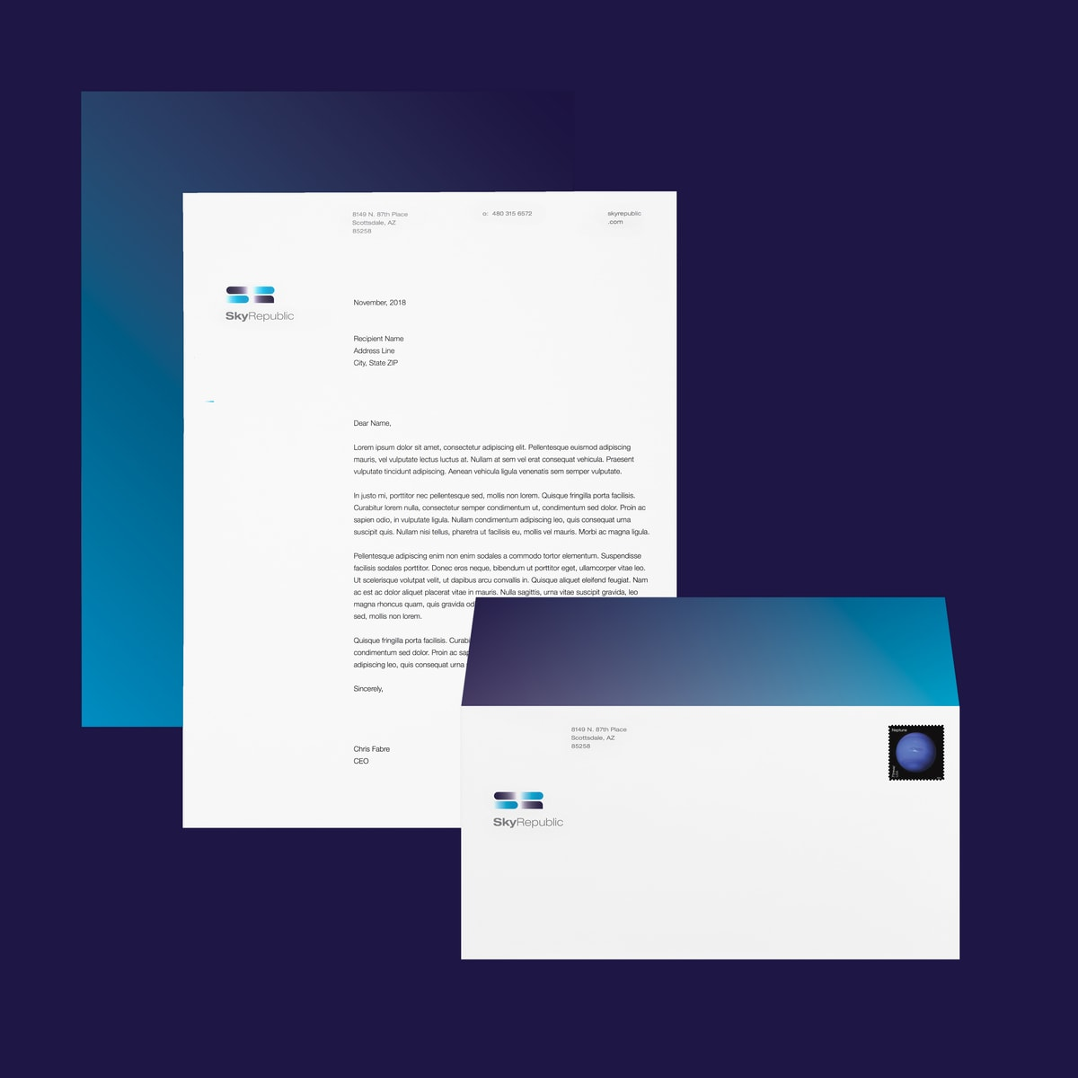 Startup branding for Sky Republic Inc.'s stationery suite