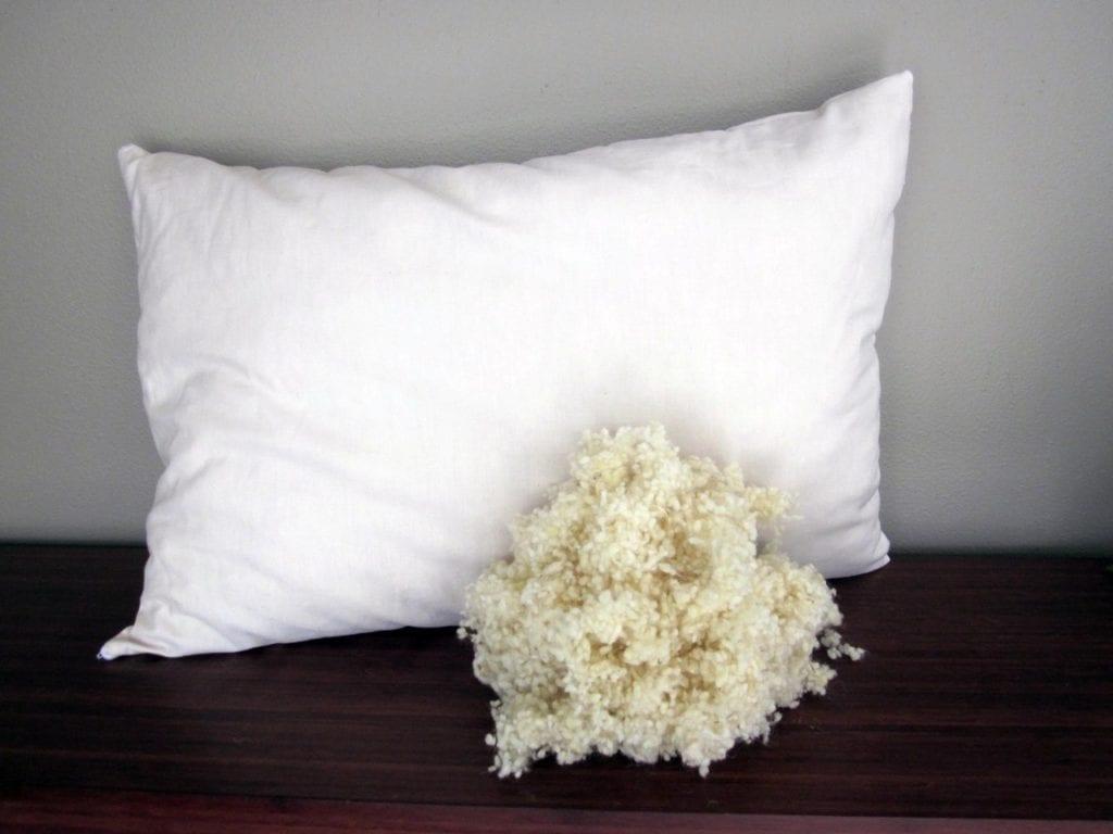 Organic wool pillow filling material