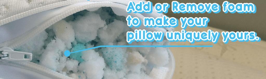 Shredded memory foam in Snuggle-Pedic pillow