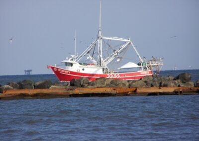 This is a big boy shrimp boat that spends most of its time catching shrimp in the gulf of Mexico.