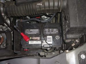 Automotive Car Battery With Negative Cable Removed
