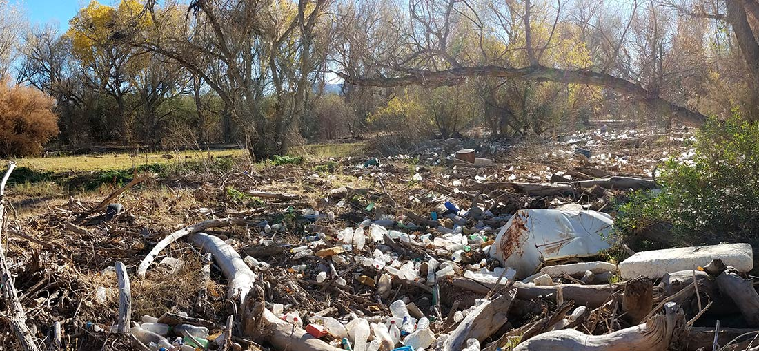 Trash along the Santa Cruz River