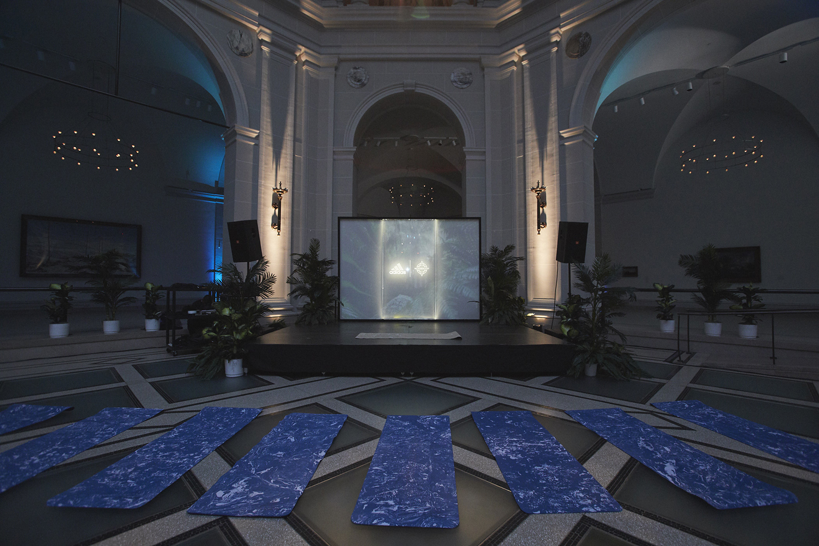 A stage  with a lit screen in a dimly lit atrium, surrounded by plants, is faced by a row of empty yoga mats.