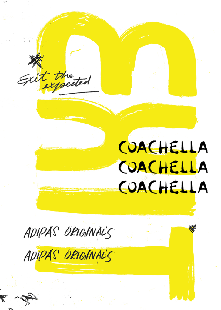 A large handwritten, brushy EXIT written in yellow with Exit the Expected, Coachella, and adidas Originals handwritten repeatedly overtop in black.