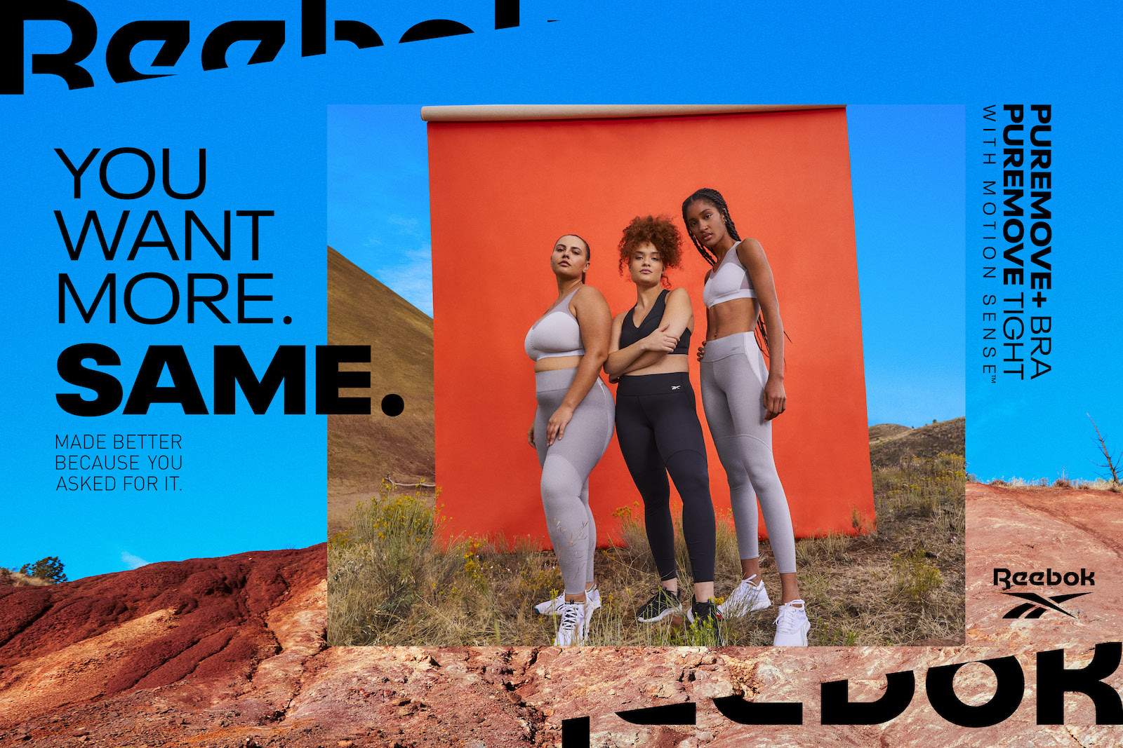 A horizontal example of Reebok PureMove campaign layout, with an image of models against the orange backdrop inset in another image of the red earth and blue sky environment, creating a layered contrast of colors as well as between geometric and organic shapes.