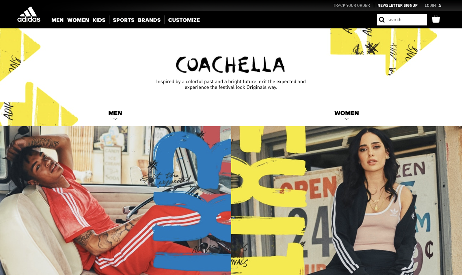 The adidas webpage with the Coachella Exit the Expected campaign graphics. Yellow and blue handwritten EXIT graphics overlay photoshoot images of a guy lounging in the VW bus, and a woman standing in front of the desert gas station.