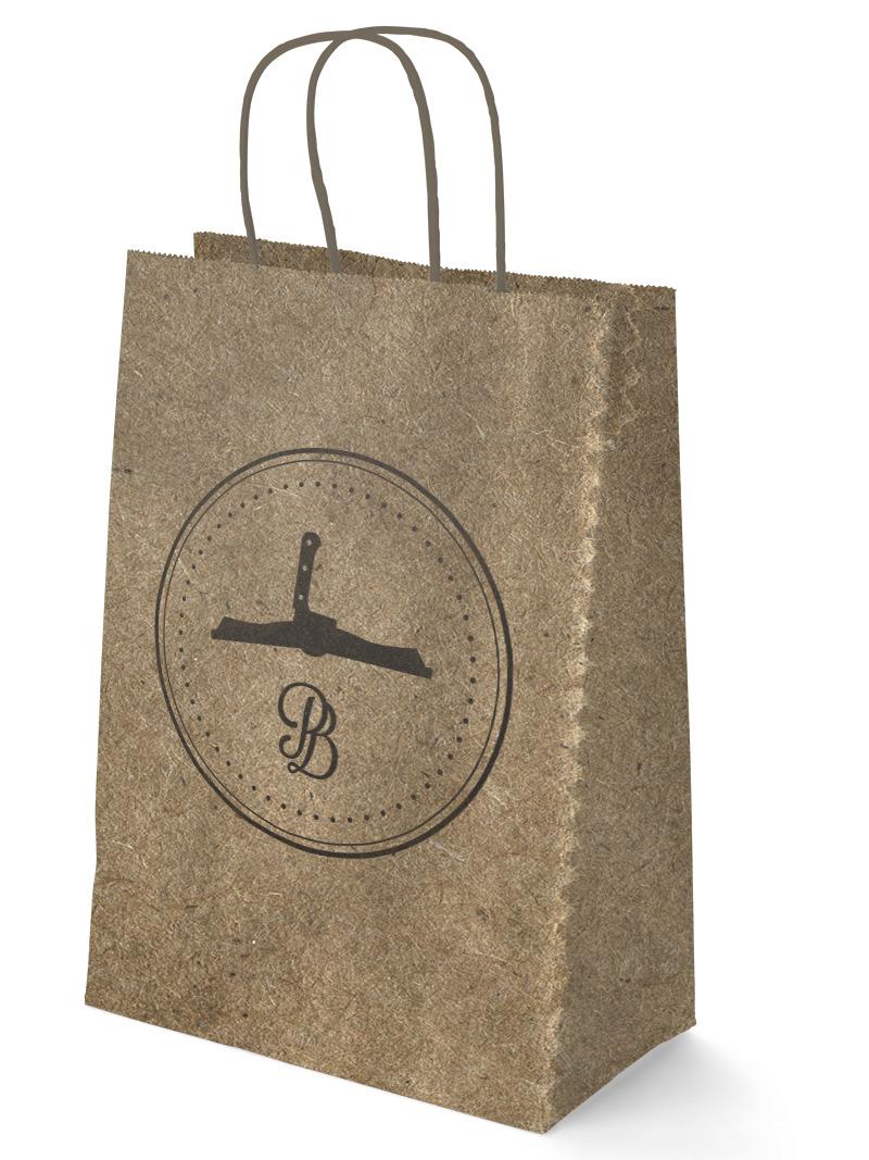A branded brown paper bag.