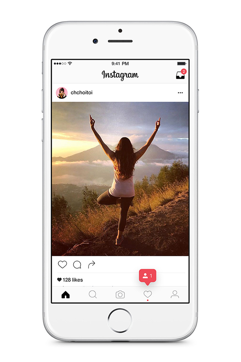 A mockup of an Instagram post, seen on an i-Phone, of a woman doing yoga outside.