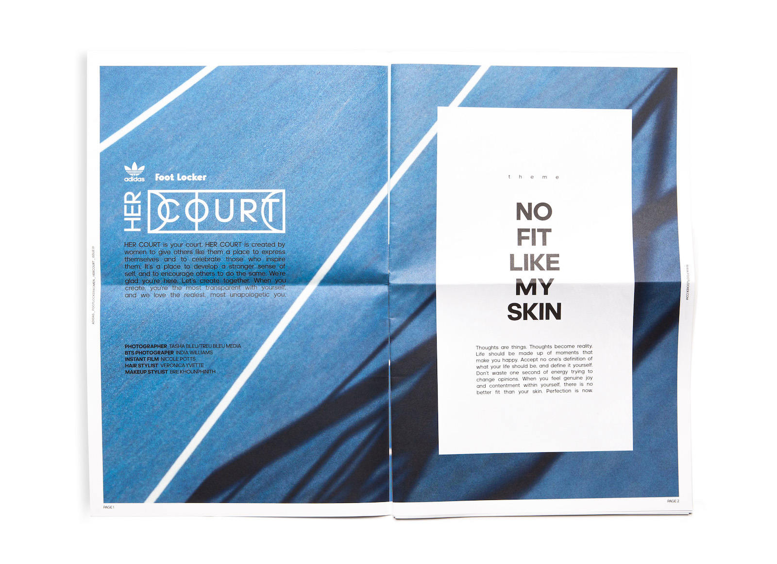 An open spread of Her Court zine Issue 01 showing an abstracted, upclose image of a basketball court and bold copy that reads No Fit Like My Skin.
