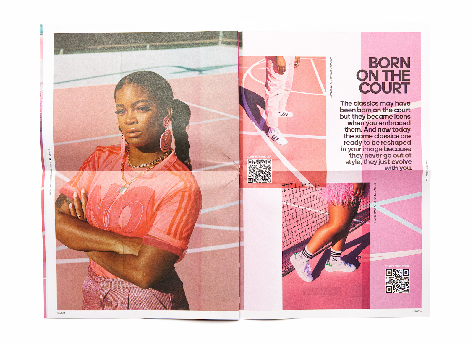 An open spread of Her Court zine Issue 02 showing a photo of Ari Lennox with arms crossed on the left page, and cropped shots of shoes on the court on the right, with QR codes, and a headline that reads Born On The Court.
