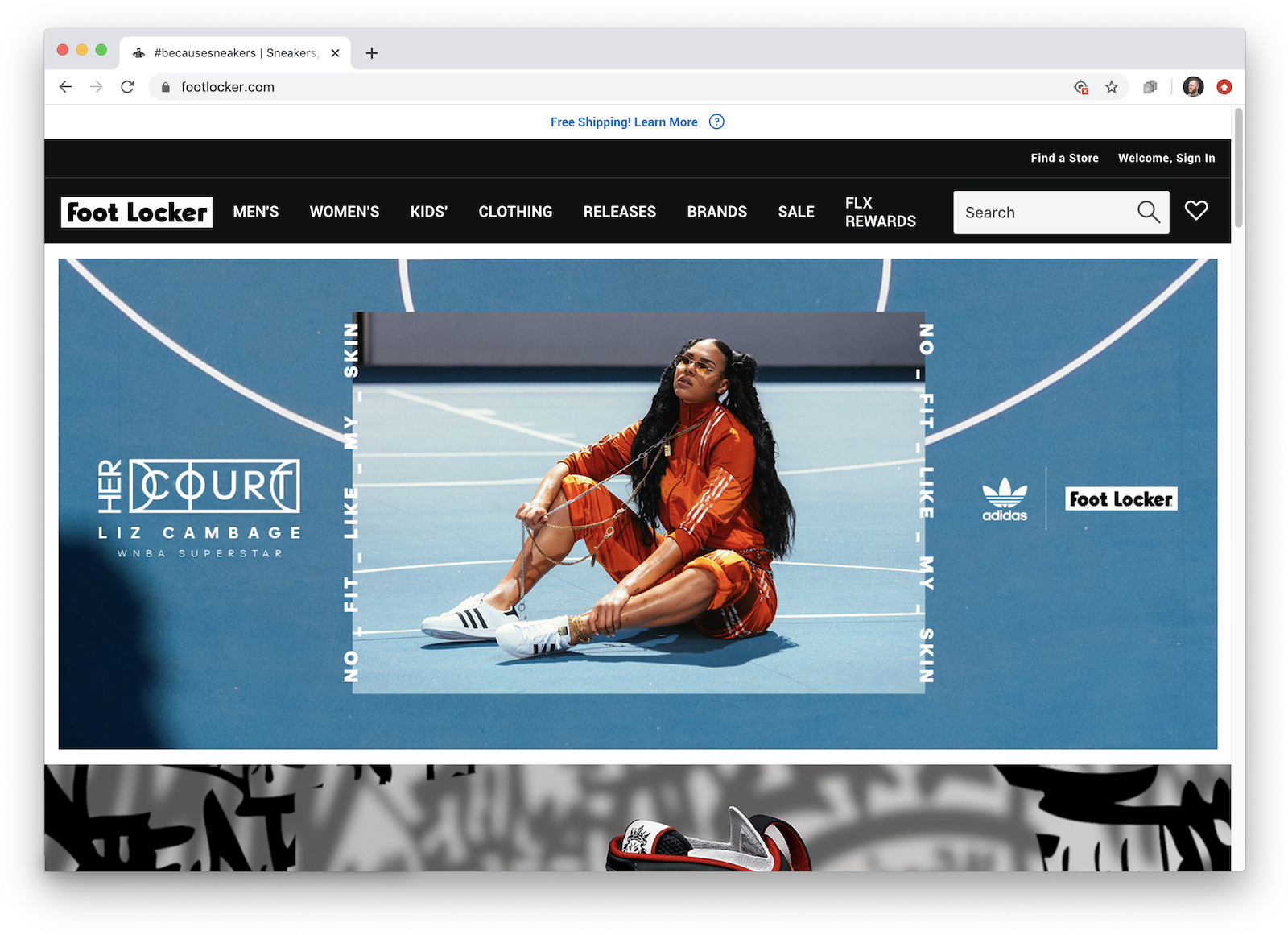 Screenshot of a web header for the campaign on footlocker.com, featuring Liz Cambage, in the same orange tracksuit on blue court.