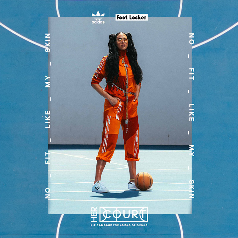 Digital social layout featuring a shot of Liz Cambage on a blue basketball court, wearing an orange Originals tracksuit and white sneakers, inset on a graphic of a blue court.