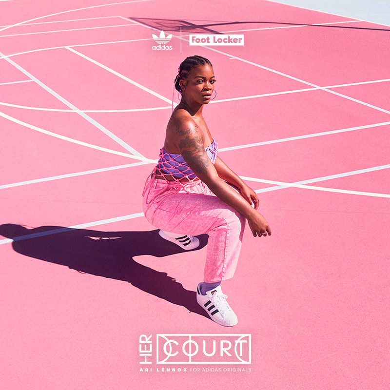 Digital social layout featuring Ari Lennox in pink with white adidas sneakers on a pink basketball court.