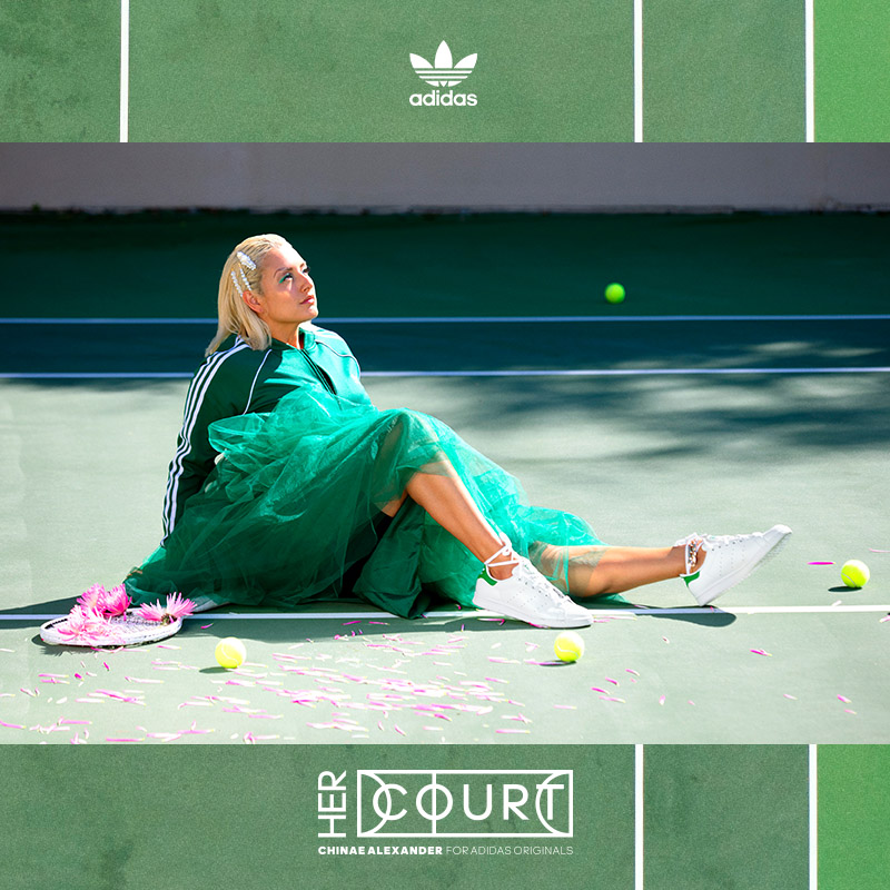 Digital social layout featuring a shot of Chinae Alexander on a green tennis court, wearing green tulle and Originals track jacket with white sneakers, overlaid on a graphic of a green court.