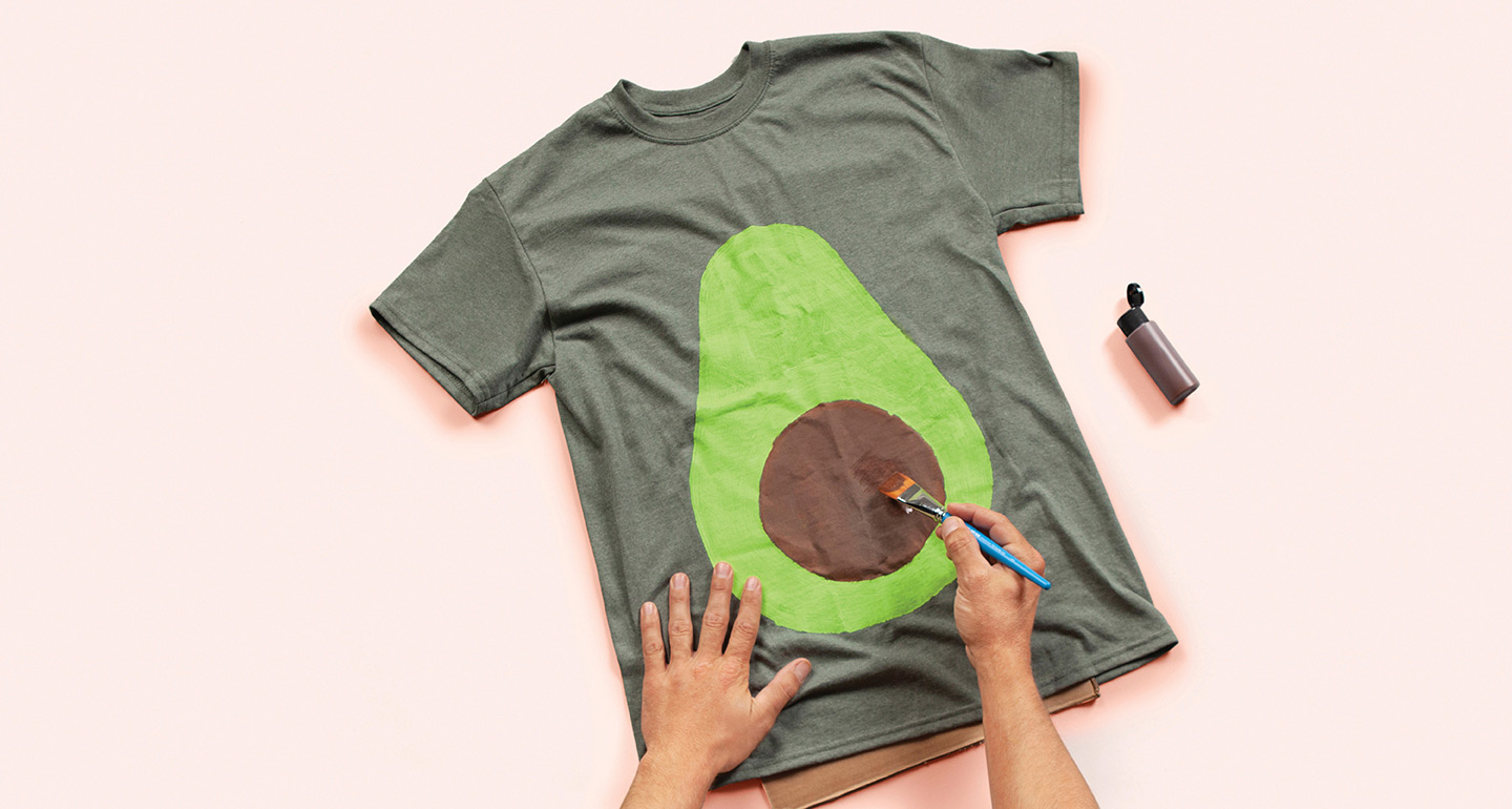 Step 4: Paint pit of avocado with brown fabric paint.