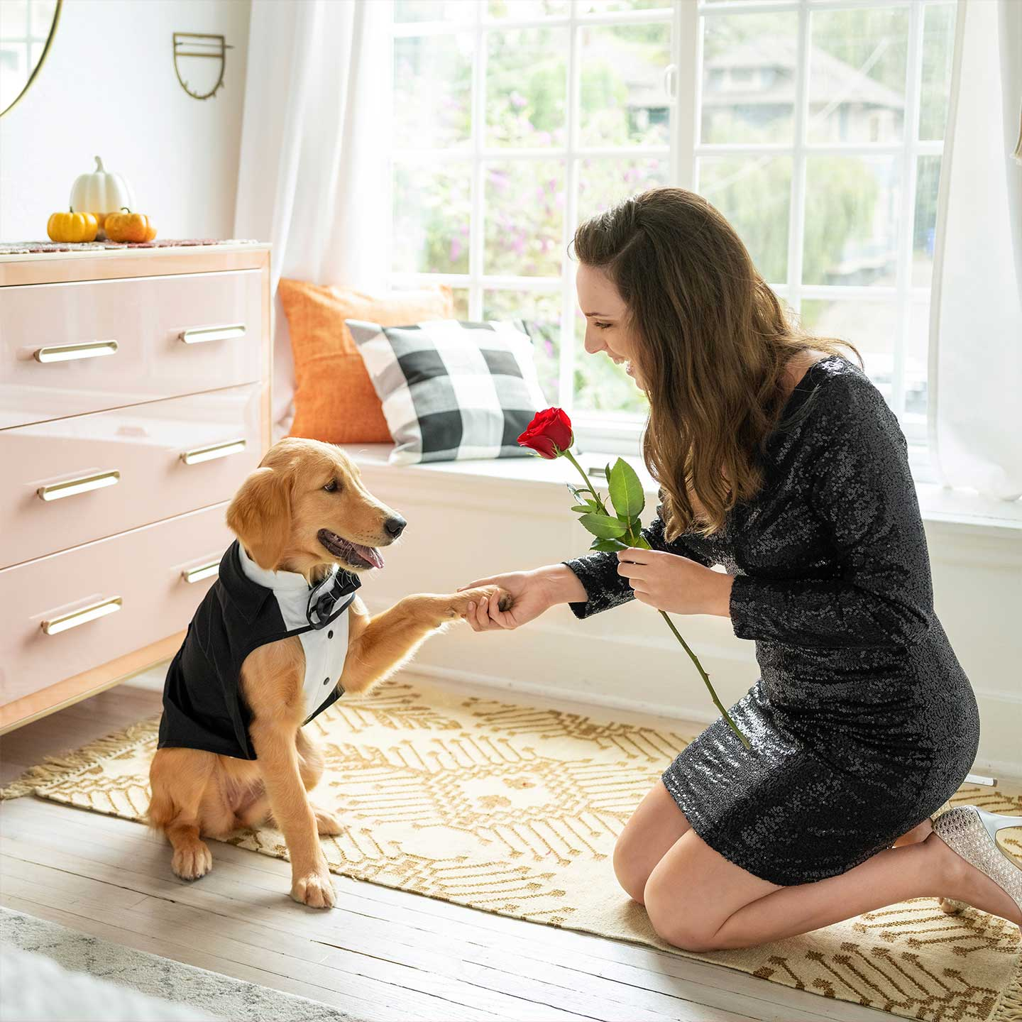 Dog dressed in a tux as the Bachelor shakes paw with woman holding a rose, dressed as a Bachelorette.