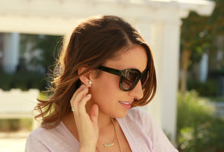 Delicate Accessories-Pearl studs, and monogram necklace