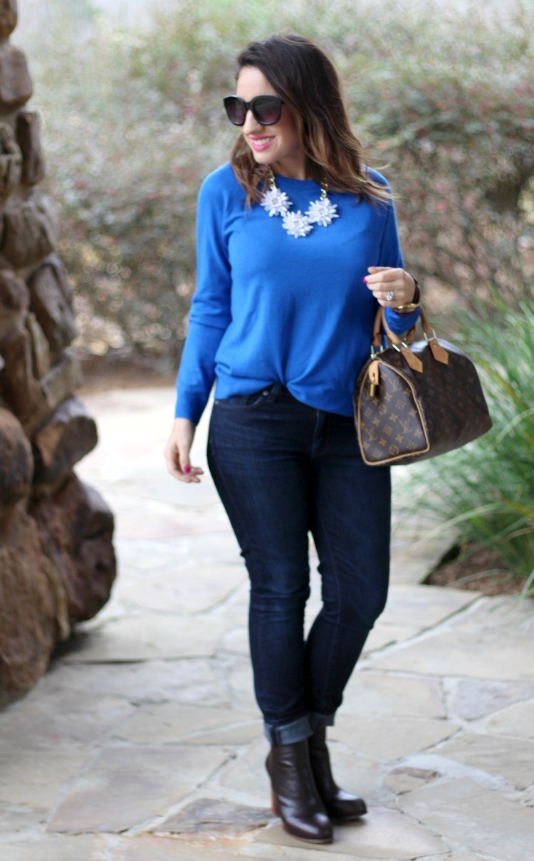Cobalt Blue sweater and skinnies
