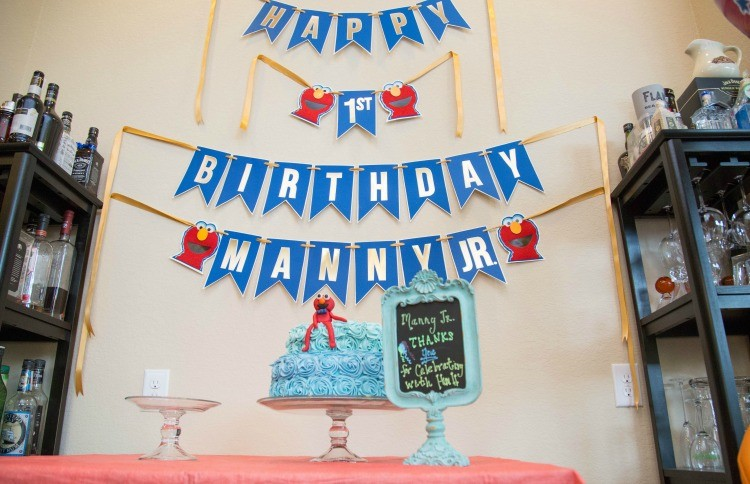 My baby boys Elmo themed first birthday banner