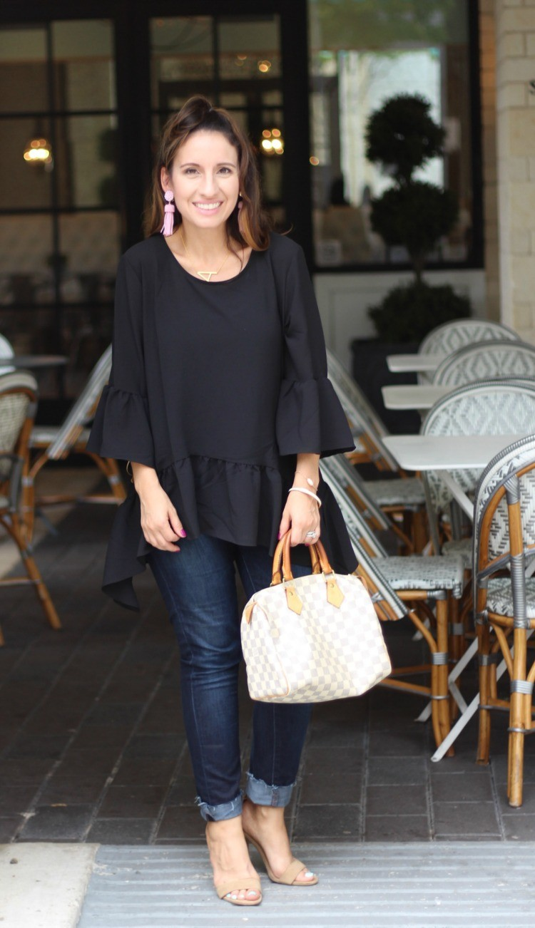 Ruffled hem top, dark denim, and nude heels, Pretty In Her Pearls, Style Blogger, Petite Style Blogger