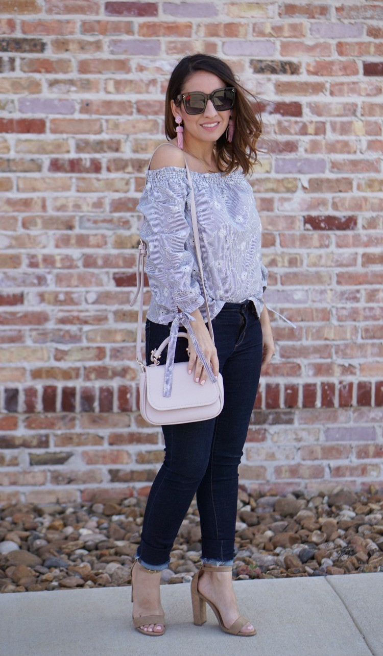 Blue and White off the shoulder top, skinny jeans, and heels, Pretty In Her Pearls, Socialite Top, Petite blogger, Petite Fashion, Houston Blogger, Romwe,