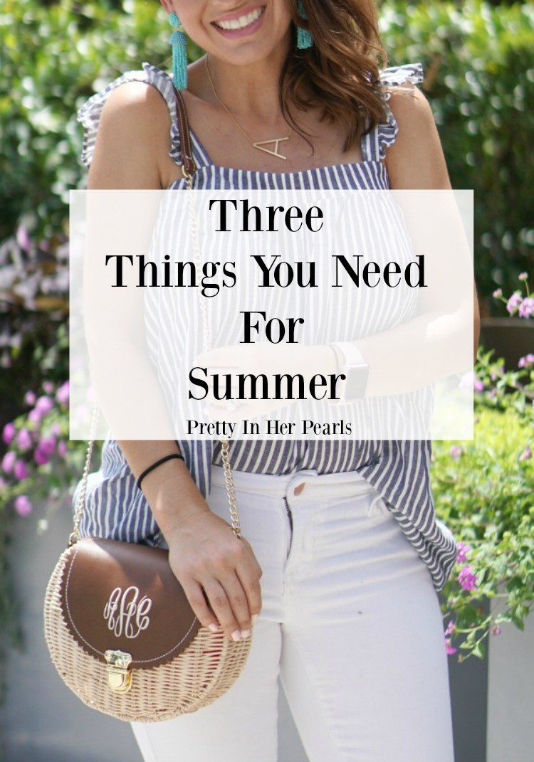 Three Things You Need For Summer, Pretty In Her Pearls, Blue and White Top, White Jeans, and Nude sandals, Petite Blogger