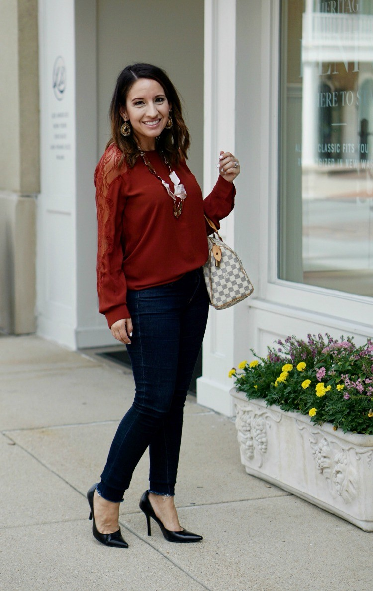 Lace inset blouse and dark skinny jeans