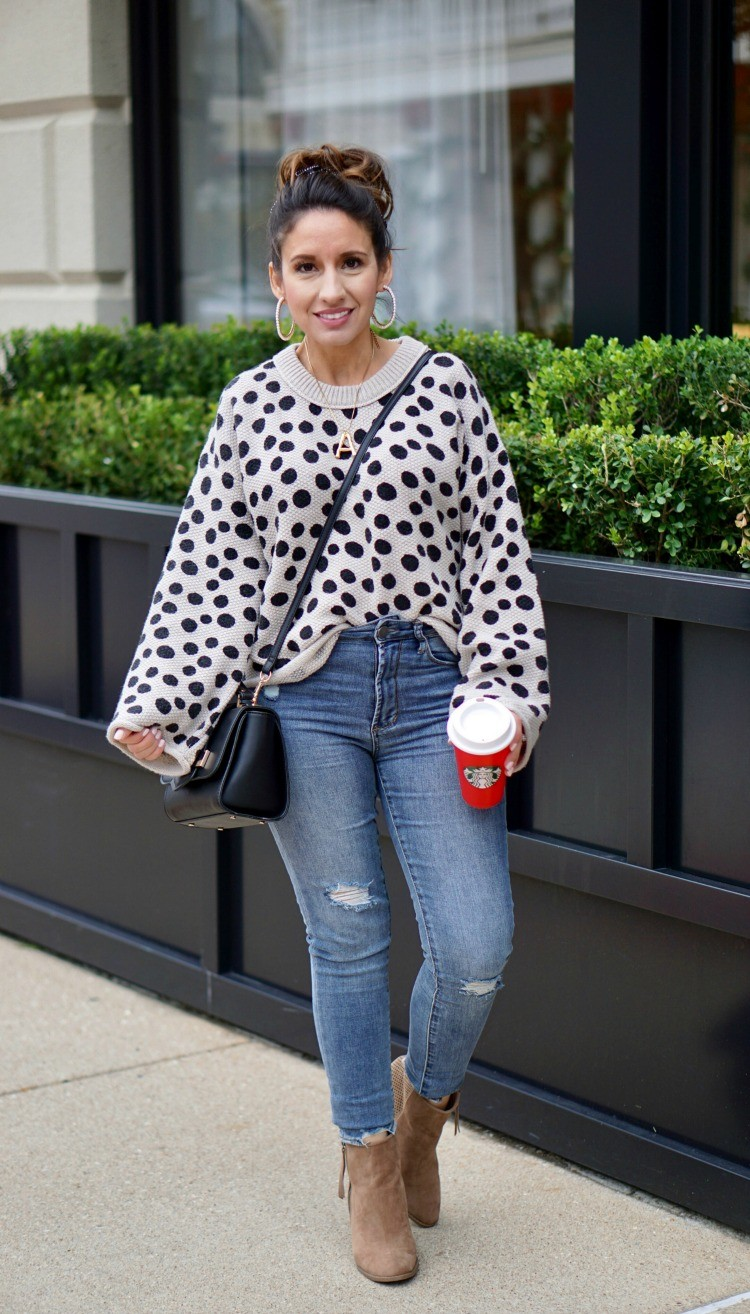 Leopard Dot Sweater, skinny jeans, and nude booties