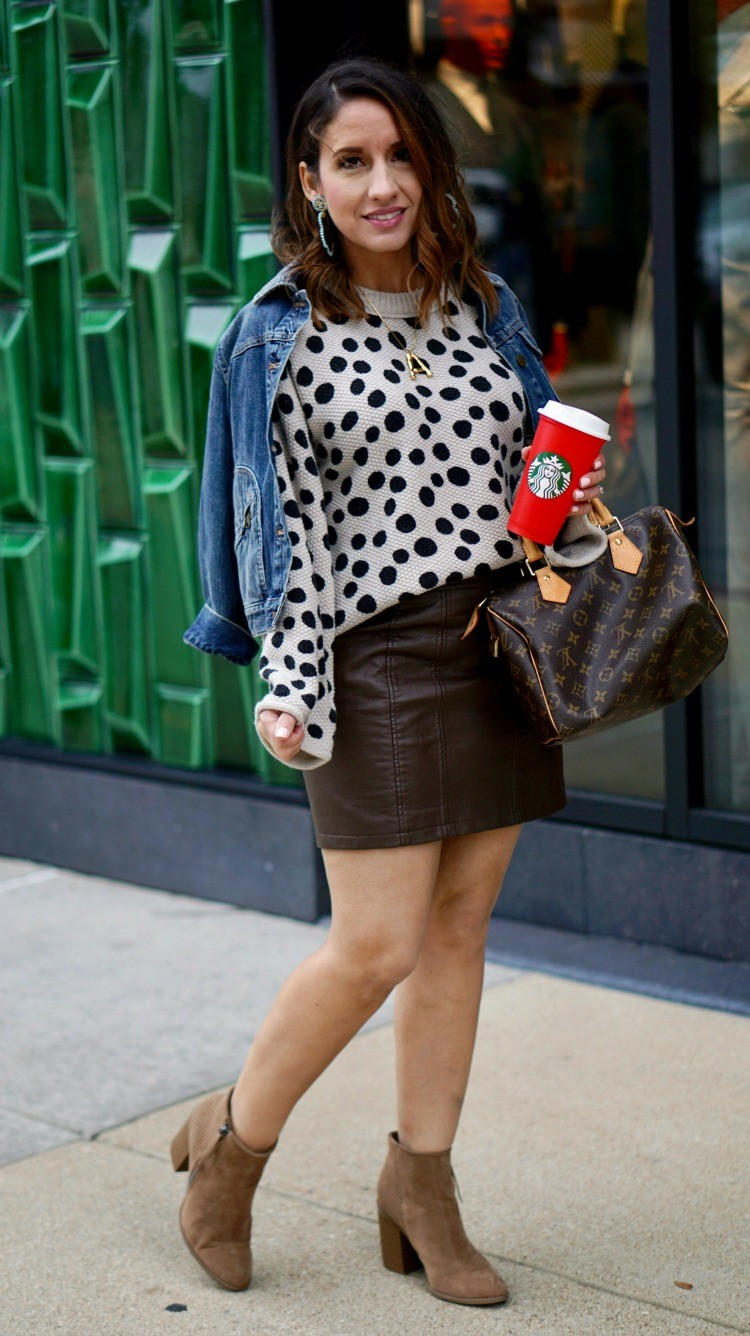 Jean Jacket, Leopard Spot sweater, leather skirt and booties