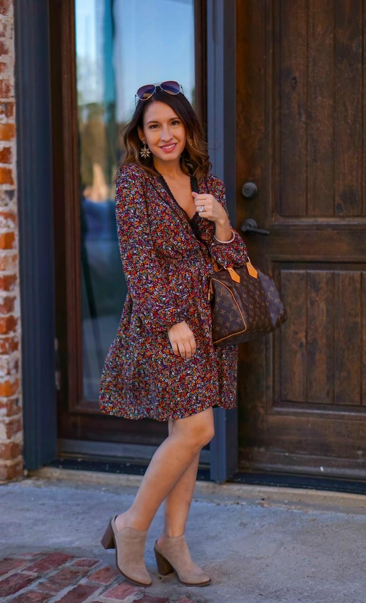 Floral wrap dress and Louis Vuitton handbag