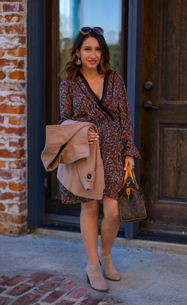 Floral wrap dress and nude booties