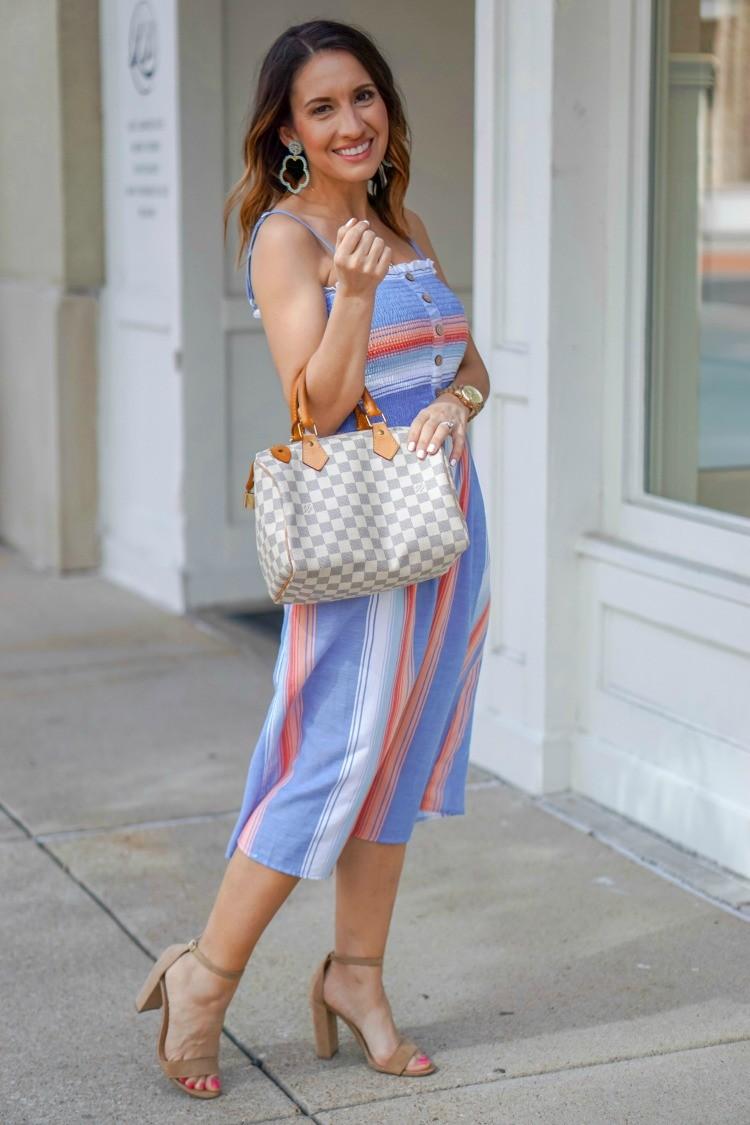Lisi Lerch Earring and Smocked Bodice Stripe Midi Dress