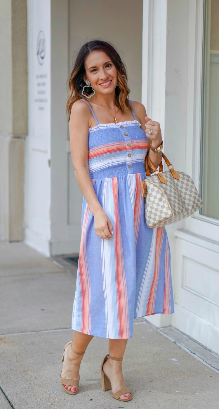 Lisi Lerch Earring and Smocked Bodice Stripe Midi Dress And Nude Heels