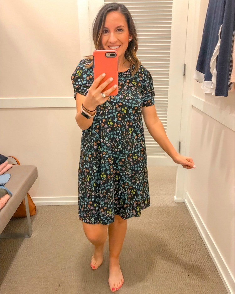 Loft Try-On Session Floral Swing Dress