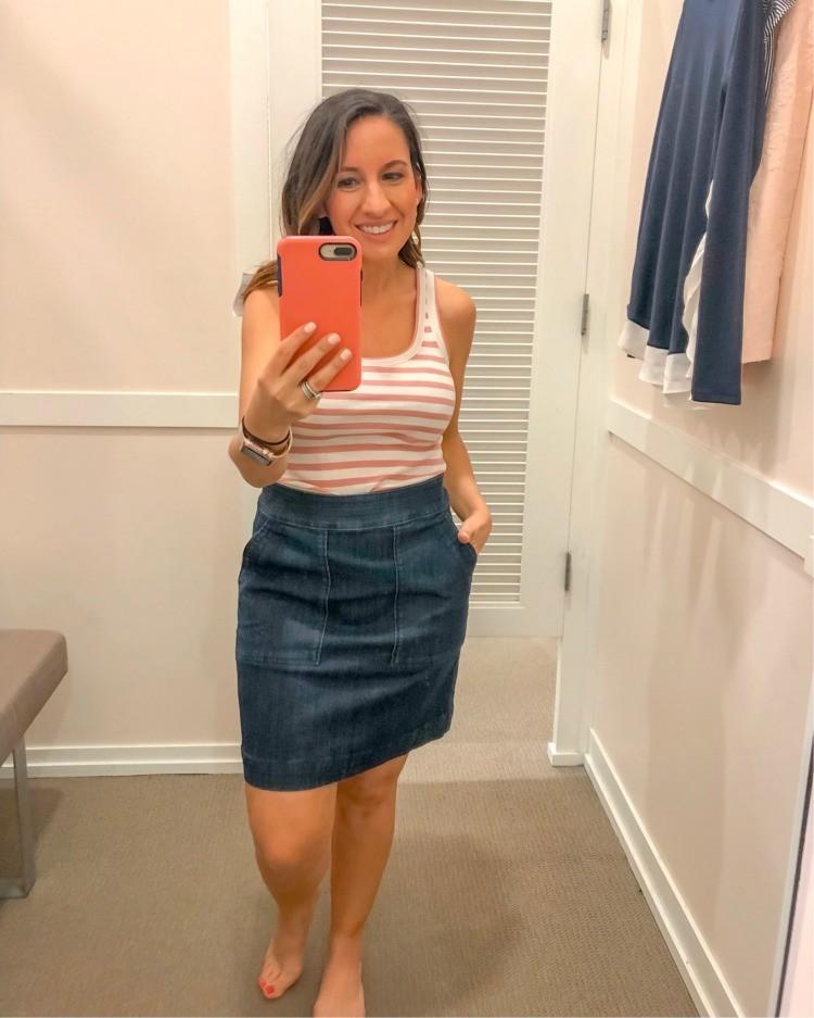 Loft Try-On Session Stripe tank and denim skirt