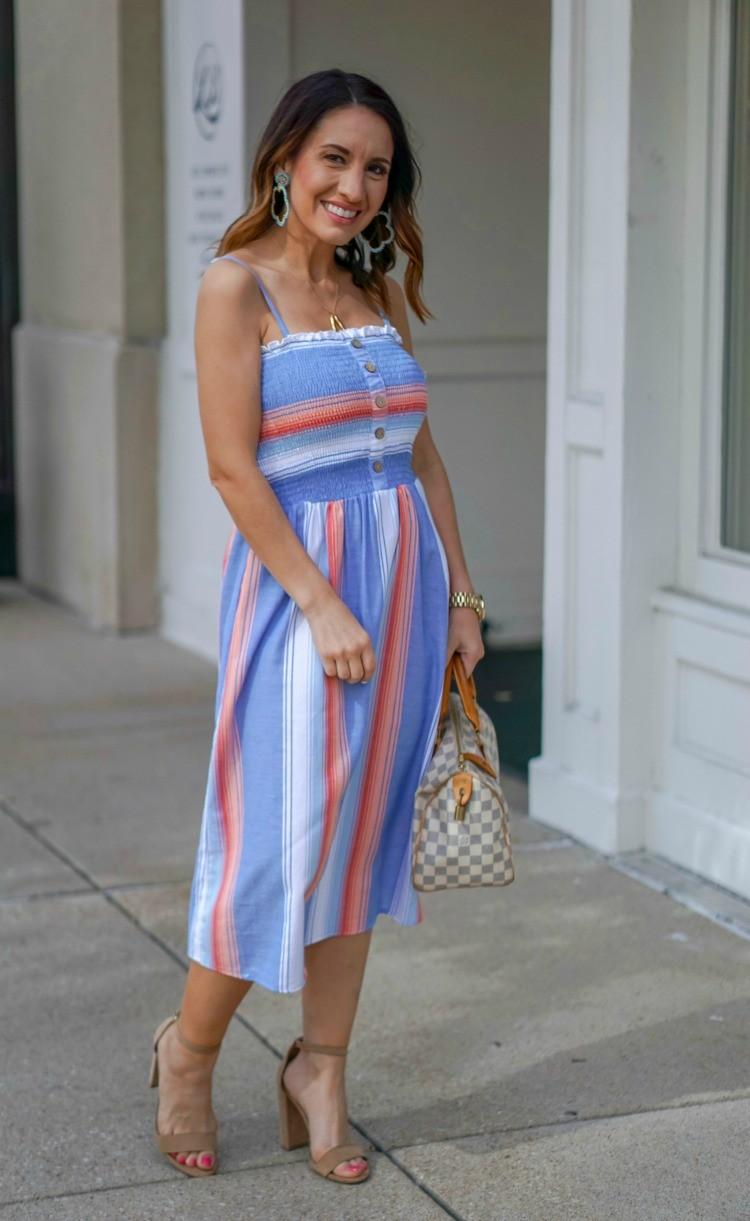 Smocked Bodice Stripe Midi Dress