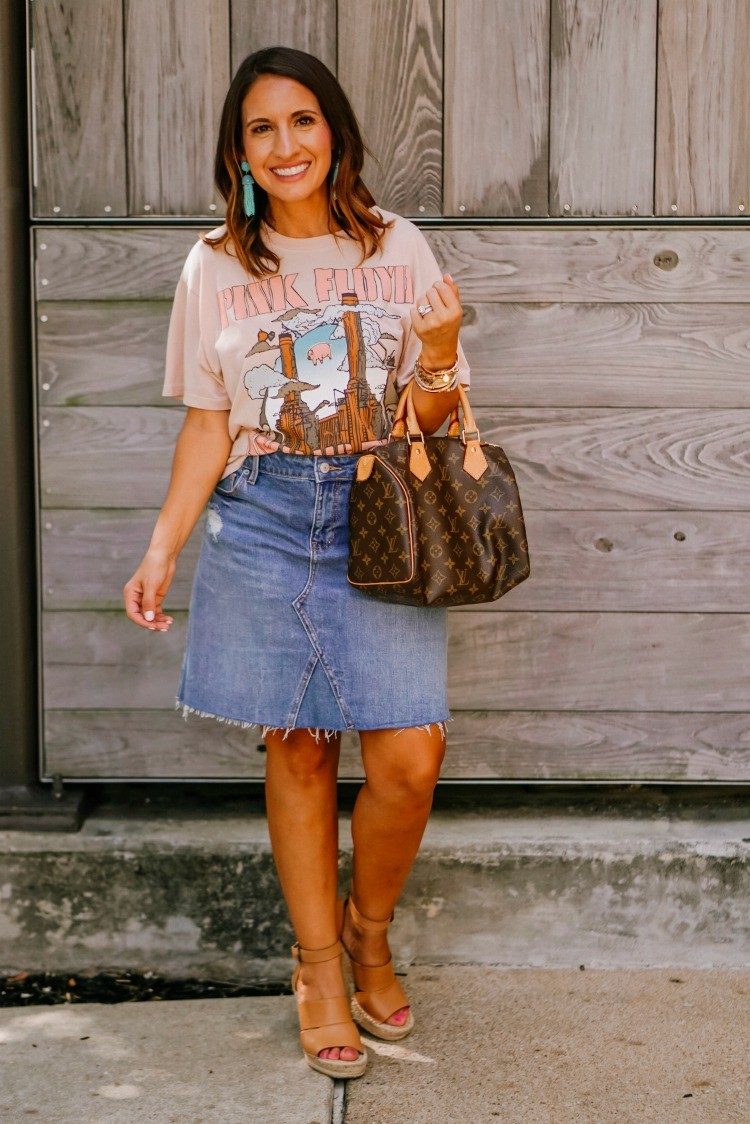 The Softest Pink Floyd tee and jean skirt