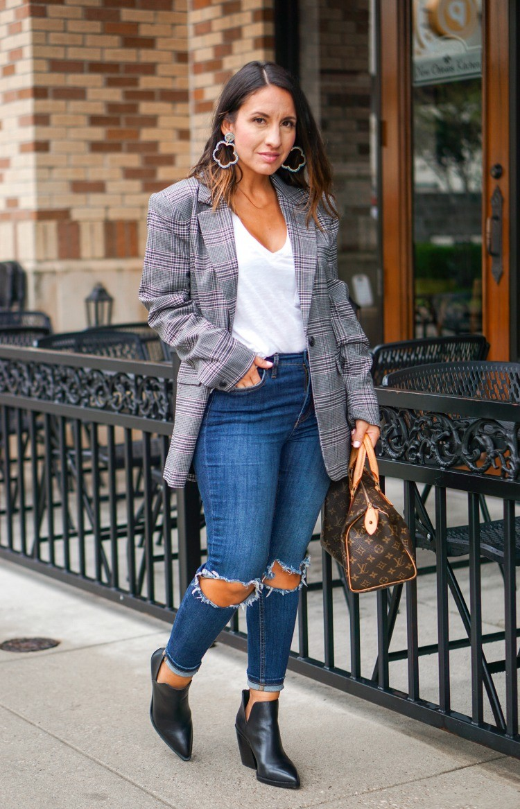 Boyfriend Blazer, T-Shirt, Distressed Jeans, and Booties