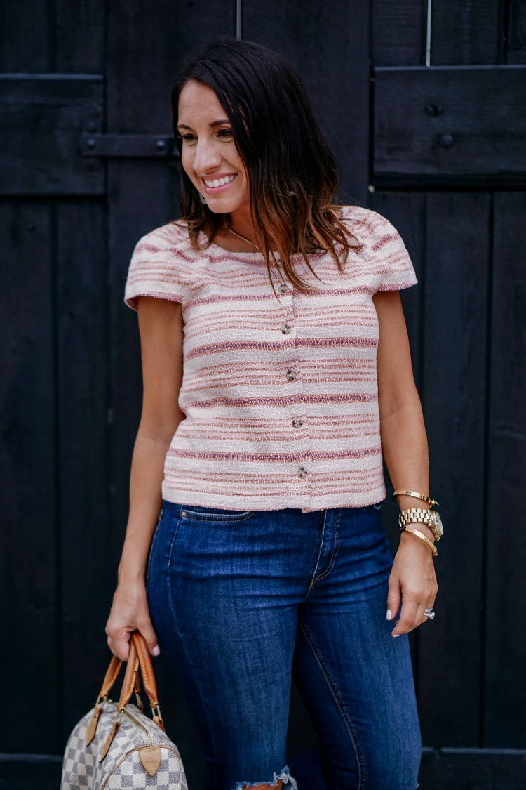 Cap Sleeve Button Down Top and Jeans