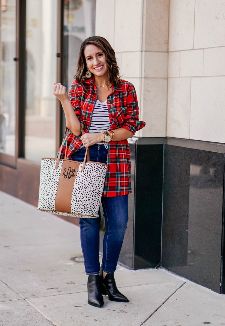 Tartan Plaid Shirt Stripe T-Shirt and jeans