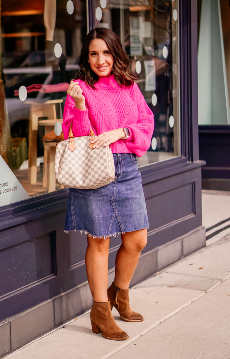 Pink Sweater, Jean Skirt, and Booties